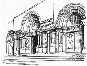 Die drei Portale mit reichem figürlichen Dekor sind spätrömischen Vorbildern (Triumphbogen) nachempfunden, Bild Baustilkunde