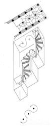 Schema der gestaffelten Wendeltreppe Zeichnung : Friedrich Mielke