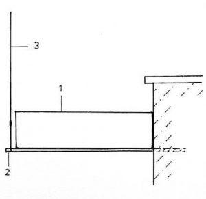 Schnitt. Abhängung der Treppe am Podest. 1. Podestplatte 8 mm, 2.Unterzug Rohr 33,7 mm, 3. Edelstahlseil 4 mm