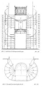 Zwillingstreppe im Kloster Vorau, Österreich Zeichnung: Friedrich Mielke